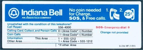 Payphone Instruction Cards