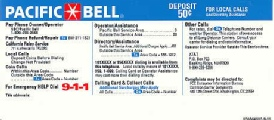 Pacific Bell Payphone  Instruction Card Payphone Insert