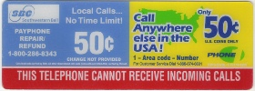 SouthWestern Bell  Instruction Card Payphone Insert