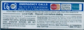 Payphone Instruction Card Payphone Insert