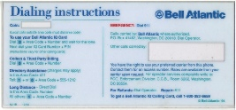 Bell Atlantic Payphone  Instruction Card Payphone Insert