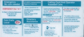 Instruction Card Payphone Insert