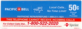 PAC BELL Upper Payphone  Instruction Card